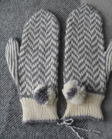 Herringbone Mittens with Poms